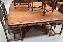 Antique large French walnut Henri II table, approx 71cm H x 148cm W x 130cm D