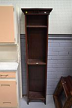 Tall narrow Arts & Crafts design bookcase, approx 179.5cm H