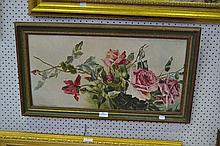 Still life of roses, oil on board, unsigned, approx 32cm x 64cm