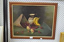 Still life of fruit, oil on board, unsigned, approx 40cm x 51cm