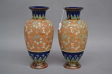 Pair of antique Doulton Lambeth Slater vases, each approx 35.5cm H (2)