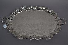 Large silver plated tray, approx 64cm x 43cm