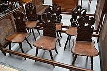 Six impressive antique French carved Renaissance style  chairs (6)