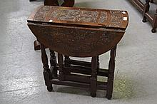 Antique Victorian carved top oak gate leg table of small scale, approx 69cm H