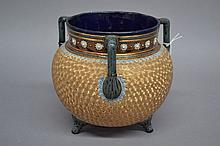 Doulton Lambeth Silicon ware jardiniere of ovoid form with three applied handles and three applied feet, approx 20.5cm H