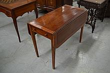 Inlaid drop side table, approx 70cm x 96cm L