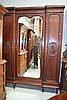 Vintage French mahogany three door armoire, approx