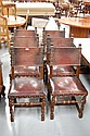 Set of Six  vintage oak & leather chairs (6)