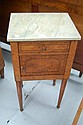 French burr walnut and marble topped nightstand
