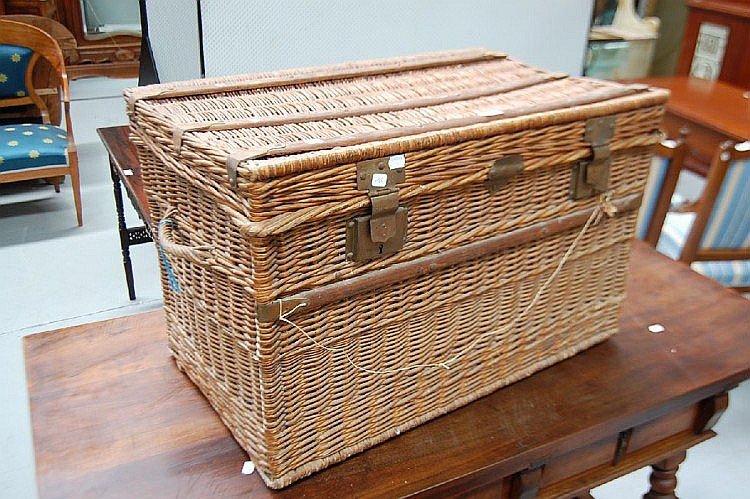 Antique 19th century French cane basket, with