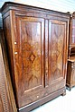 Antique French flame walnut armoire with single