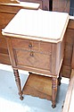 Antique French Louis XVI marble topped nightstand