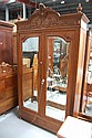 Antique French Louis XVI walnut two door armoire