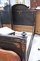 Antique French floral marquetry inlaid bed