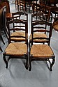 Four French Louis XV oak ladder back chairs (4)