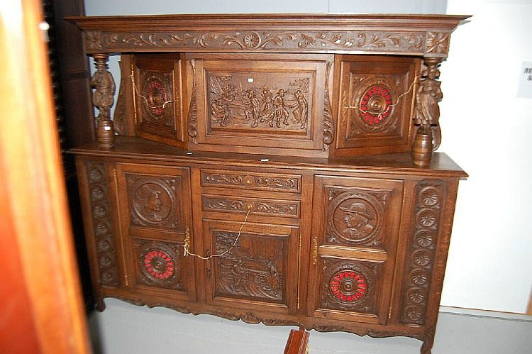 Large antique French Brittany buffet, carved in