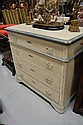 Antique French pine four drawer chest with later