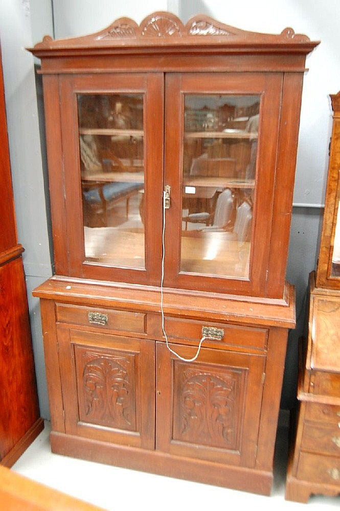 Two height Kauri Pine Edwardian bookcase