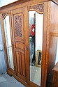 Art Nouveau carved oak wardrobe. 215cm h x 161cm w
