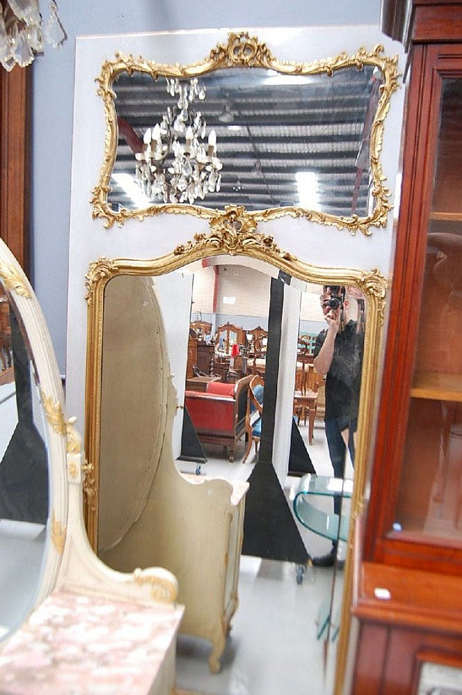 Fine antique French Louis XV pier mirror, 254 cm x