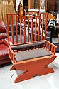 Japanese red lacquer high back arm chair, standing