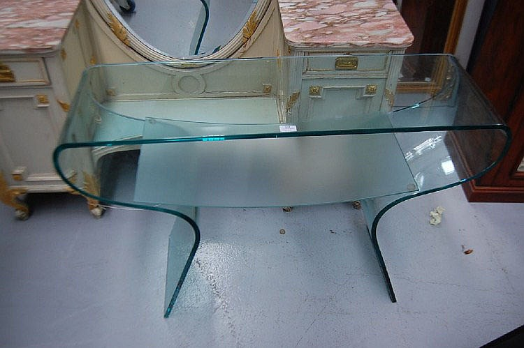 Designer glass console table, 108 cm L x 36 cm W x