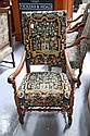 Antique 18th century walnut high back arm chair