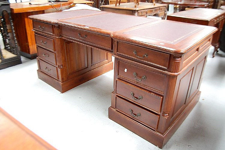 Twin pedestal partners desk