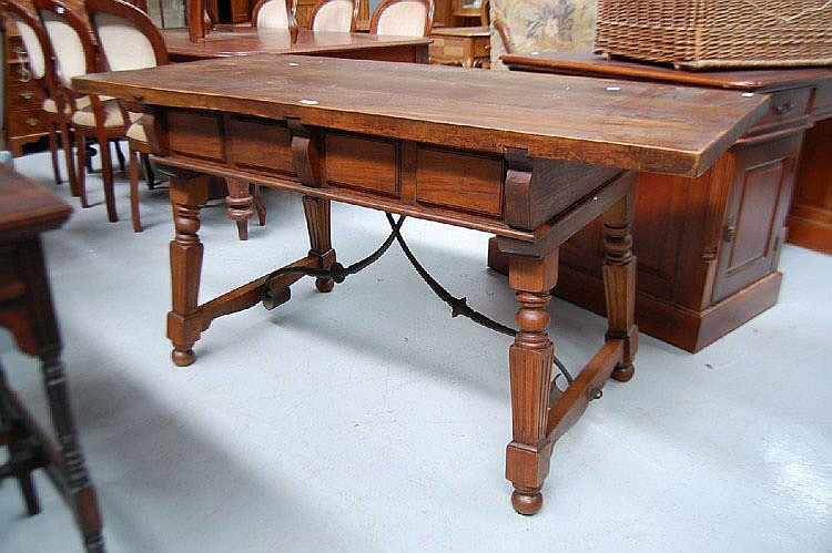 Vintage French two drawer trestle type table, with