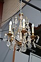 Vintage French five light cut crystal & glass