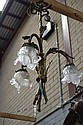 French Petite bronze three light chandelier