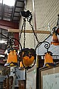 French Art Deco Wrought iron and art glass four