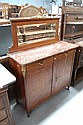 Antique Louis XVI French bur walnut & inlay marble
