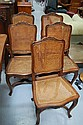Fine set of five French Louis XV oak chairs with