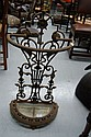 Antique French cast iron and enamel umbrella stand