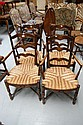 Set of four antique French rush seated ladder back