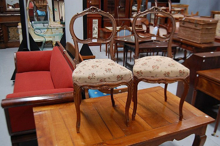 Pair of antique French set Louis XV style walnut