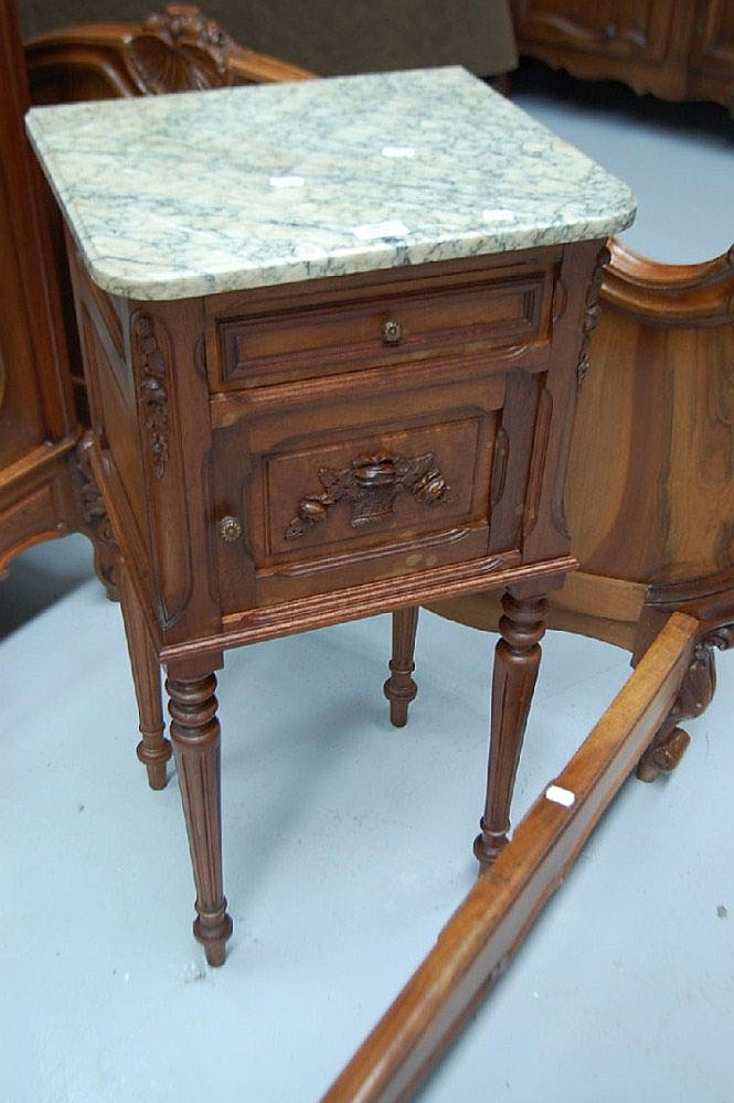 Antique French Louis XVI walnut marble topped