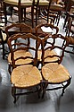 Four French Louis XV rush seated  chairs (4)