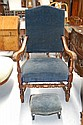 Antique French carved walnut high back arm chair