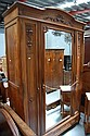 Vintage French Walnut three door armoire, approx