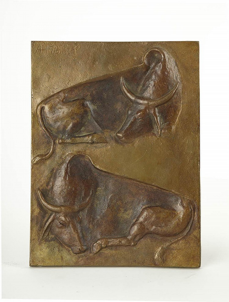 Annemarie Haage, Bildplatte 'Zwei ruhende Kühe', 1976