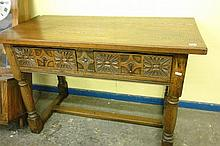 CARVED OAK JACOBEAN REVIVAL SIDE TABLE FITTED WITH