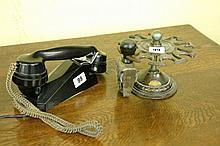 G.P.O BLACK BAKELITE TELEPHONE AND CAST IRON