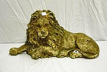 19THC CAST IRON RECUMBENT LION  68CM OVERALL