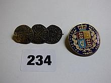 VICTORIAN ENAMELLED COIN BAR BACK BROOCH AND THREE
