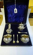 CASED HM BIRMINGHAM SILVER 4PC CONDIMENT SET WITH