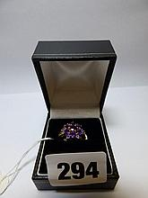 9K GOLD AMETHYST CLUSTER DRESS RING SIZE M