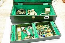 GREEN VELVET LINED TWO TIER JEWELLERY BOX OF