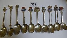 GEORGIAN SILVER TEASPOON, 7 ENAMEL CRESTED SILVER
